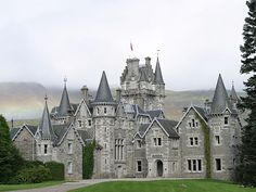 Ardverikie House - Loch Laggan, Scottish Highlands    Ardverikie House is situated on a promontory overlooking Loch Laggan in the Scottish Highlands. It was designed by John Rhind of Inverness in a Scots baronial style, its gabled roofline complete with octagonal turrets with corbelled conical roofs.