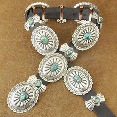 Navajo Indian Jewelry Genuine Kingman Turquoise Silver Concho Belt