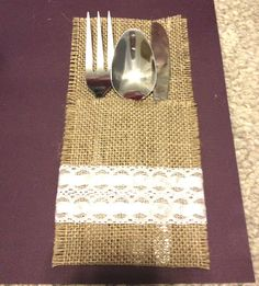 Rustic DIY wedding     Tag: cheap inexpensive wedding burlap utensil holder cute lace country