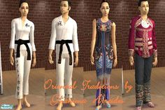 A set containing two karate uniforms (Gi's) for males and females and traditional Chinese clothing for both genders.  Found in TSR Category 'Sims 2 Clothing Sets'