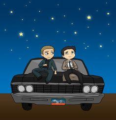 #Destiel #stargazing #Dean #Supernatural #Impala #Castiel