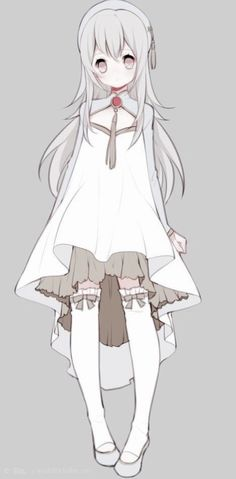Beautiful pale monga girl with elegant flowy white dress that doesn't complement her wast line but still looks amazing! Anime Girl Dress, Anime Art Girl, Art Manga, Manga Anime, Dessin Old School, Hyanna Natsu, Prinz Eugen, Anime Child, Estilo Anime