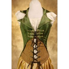 """Green Yarrrr Corset Set    """"This beautiful handmade corset from Damselinthisdress at Etsy is truely unique and so amazingly original! You can rock out the steampunk style or look the part of a pirate vixen, check out the other corsets from Damsel!"""""""