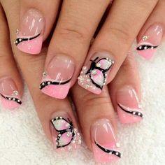 Cotton candy pink - Black - White - Butterflies - Rhinestones - Nail design