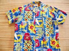 Vintage 1950s Shriners Hawaiian Shirt by Kahala