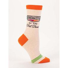 Are Ringmaster Of The Sh*tshow Socks for you or someone you know? Ivory/tan socks with black Ringmaster Of The Sh*tshow and green, magenta, and orange stripes and patterns.Ringmaster Of The Sh*tshow Socks are a great gift. By Blue Q for women. Silly Socks, Funny Socks, Crazy Socks, Cute Socks, My Socks, Awesome Socks, Happy Socks, Boot Socks, Blue Q Socks