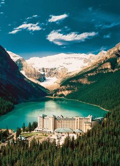 Lake Louise - Alberta, Canada. This is a gorgeous spot to honeymoon - and you can canoe on that lake!