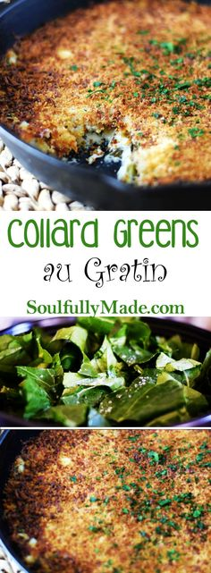 Collard Greens au Gratin by Soulfully Made. Collard Greens au Gratin combines a lusciously creamy sauce topped with a cheesy panko crust. Side Dish Recipes, Veggie Recipes, Appetizer Recipes, Cooking Recipes, Appetizers, Skillet Recipes, Dishes Recipes, Oven Recipes, Veggie Dishes