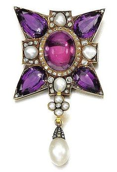 Maltese Cross in AMETHYST, PEARL AND DIAMOND as PENDANT; c. 19TH CENTURY. In the form of a Maltese cross set with pear-shaped amethyst to the cardinal points and cabochon foil backed rock crystal to the centre and pearls, suspending an associated pearl drop, accented with circular-cut and rose diamonds, pendant detachable.  Sold for 9,400 GBP in 2010 via Sotheby