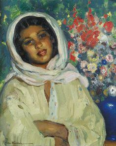 young woman with a flower bunch jose-herrerilla cruz herrera 1890
