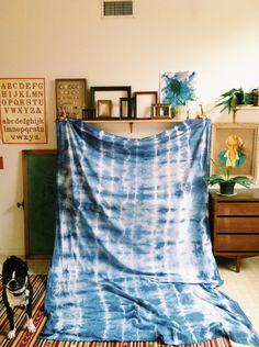 DIY tye dye curtain/tablecloth.. RIT Denim Blue. Via Instagram thedoeorthedeer