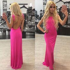 Pure Color Backless Sleeveless Long Dress