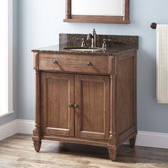 Neeson Vanity for Rectangular Undermount Sink - Rustic Brown Mold In Bathroom, White Vanity Bathroom, Kitchen Cabinets In Bathroom, Wood Bathroom, Bathroom Vanities, Bathroom Ideas, Bathroom Updates, Master Bathroom, Rustic Vanity