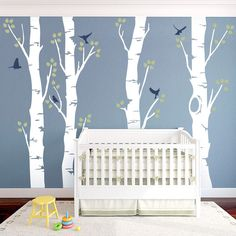 Wide Birch Tree Wall Decal with Birds