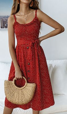 Pünktchenkleid - New Ideas Boho Midi Dress, V Neck Midi Dress, Casual Midi Dress, Midi Dress Outfit, Sleeveless Outfit, Dress Skirt, Dress Shoes, Sexy Dresses, Cute Dresses