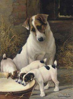 Springer Spaniel Cachorro Perro Cachorro Arte Pintura dejando en blanco o tarjeta de cumpleaños