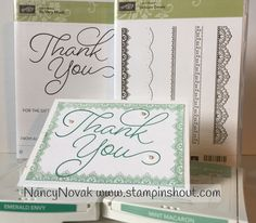 FREE & SIMPLE Card....This delicate Thank You card shows off two FREE Sale-A-Bration stamps. Thank you so Much has a beautiful flowing font and Delicate Details with 5 different lacy stamps.