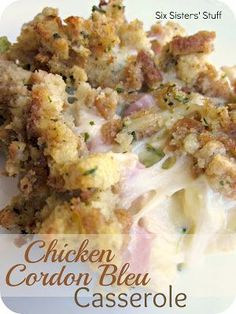 Chicken Cordon Bleu Casserole Recipe : i used leftover rotisserie chicken, ham, peas and corn, sharp cheddar, mixed it with one can soup and sor cream. Then coated with ritz cracker pieces. - use turkey instead of ham