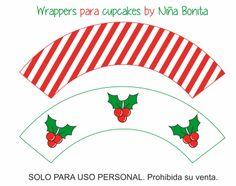 Niña Bonita: Imprimible Wrappers para cupcakes de Navidad