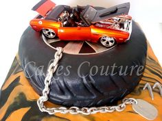 Muscle car cake by Cakes Couture - Muscle car cake-grooms cake Maserati, Lamborghini, Ferrari, Bugatti, Cars Birthday Parties, Man Birthday, Birthday Ideas, Car Cakes For Men, Tire Cake