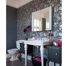 Wallpaper accent wall, side tables-- Home and Garden Design Ideas