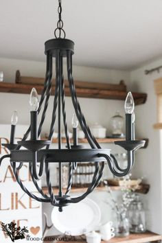 Farmhouse Home Decorating: @homedepot Dining Room Light Fixture | The Wood Grain Cottage #homedepot #homedecor
