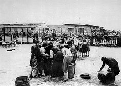 Prisoners line up for soup after Mauthausen was liberated