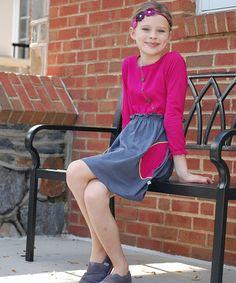 Pink & Gray Button Dress - Toddler & Girls #zulily #zulilyfinds
