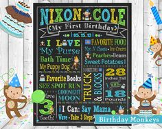 Baby Boy Monkey Blue Green Yellow Brown Monkey Monkeys ChalkBoard Wall Art, 1st Birthday Poster Chalk Board, Wallart Custom & Personalized