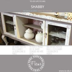 How to decorate a perfect shabby chic sideboard. Shabby Technique with Fleur paint. Come decorare una credenza in perfetto stile shabby chic con Fleur.