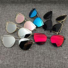 2016 future new mujeres de lujo de color flat top cat eye sunglasses oculos mujeres gafas de sol de doble haz doble-cubierta de la aleación marco uv400