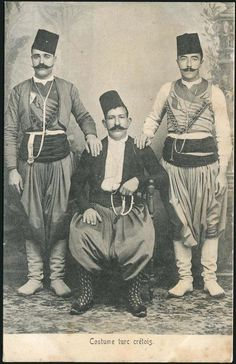 Turks from Crete, in their traditional festive/ceremonial costume. Late-Ottoman era, end of century. Old Pictures, Old Photos, Empire Ottoman, Ottoman Turks, Back To Nature, Crete Island, Turkish Fashion, Historical Pictures, Traditional Outfits