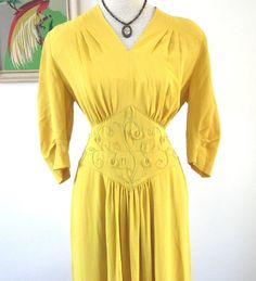 Vintage 1940s Dress xl  :  Golden Girl Full Length Gown on Etsy, $433.24 CAD