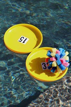 DIY Spongeball: Craft this DIY spongeball, and then turn a few Frisbees upside down and add numbers for scoring. You now have a floating ring toss game!