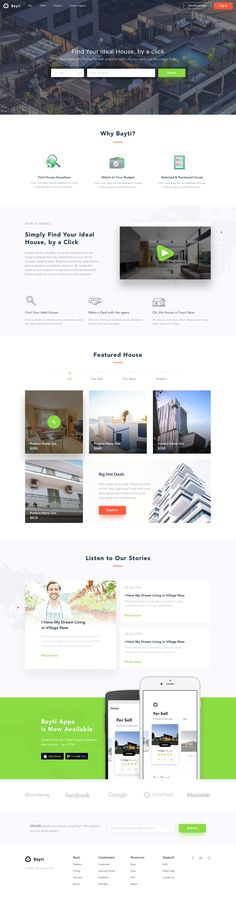 Bayti: Find Peoperties Landing Page - by Sebo | #ui #webdesign #properties