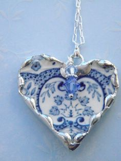 Broken China Jewelry Light Blue Transferware Necklace | DIY Creating