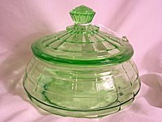 HTF Green Depression Glass Covered Bowl