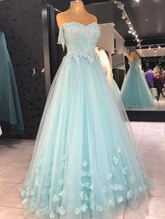 Sexy Tulle Prom Dresses, Baby Blue Prom Dress,Cheap