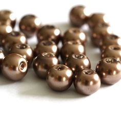 24pcs 8mm Tan Pearl Glass Beads HY8mm76 by doubleangeldesign (Craft Supplies & Tools, Jewelry & Beading Supplies, Beads, Round & Ball Beads, glass, white)
