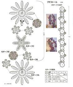 flower scarf crochet chart