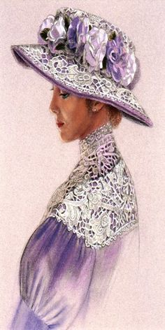 """A portrait of a Victorian lady in a lavender lace dress and floral hat. Original pastel painting """"Lavender Lace"""" by Sue Halstenberg."""