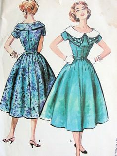 Another cute one. 1950s PRETTY FULL SKIRT DRESS LARGE WIDE COLLAR FLATTERING DESIGN McCALLS 4394 Bust 36