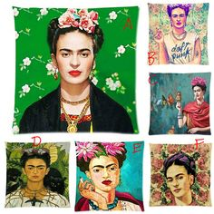 Frida Khalo Grafitti Colorful Printed Square Throw Pillow