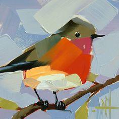 Robin no. 136 original bird oil painting by Angela Moulton prattcreekart