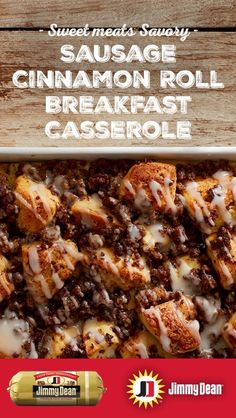 Our Sausage Cinnamon Roll Breakfast Casserole recipe will fill any morning with an uplifting fragrance. Then there's the taste. This easy recipe mixes the warm rich taste of Jimmy Dean Premium Pork Sausage and a bit of cinnamon, spice, and everything nice. It's the sort of shareable dish that family gatherings are all about.