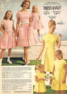 Remember when mother-daughter matching dresses were all the thing? I do. My mom made us a matching set sometime in the early 1960s. I loved them!: