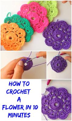 crochet flower patterns Crochet flowers are becoming more and more popular around the world. Crochet lovers are making flowers and then decorating clothes, hats, scarfs, blanket Crochet Flower Tutorial, Crochet Flower Patterns, Crochet Flowers, Easy Crochet Flower, Crochet Coaster Pattern, Crochet Motif, Crochet Round, Love Crochet, Irish Crochet