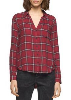 Calvin Klein Jeans  Plaid Button Down Top
