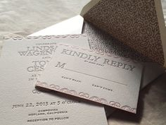 Letterpress Wedding Invitations with Pink Scroll and Gray Lettering