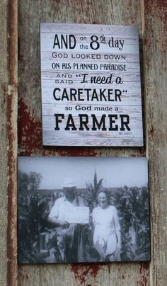 And on 8th Day God Made A Farmer with Personalized or Custom Photo Set Wood Sign or Canvas Wall Hanging - Christmas, Father's Day, FFA
